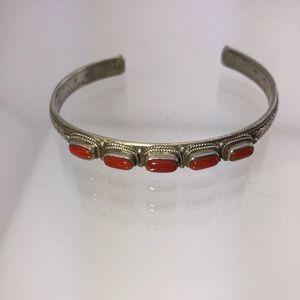 Vintage Navajo Red Turquoise 925 Silver Bracelet